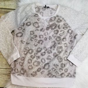 Kensie Nordstrom Women's Print Lace Sweater Small